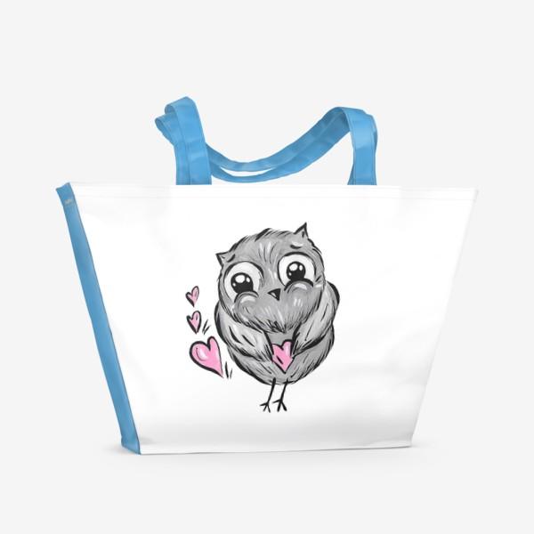 Пляжная сумка «Сова с сердечками»