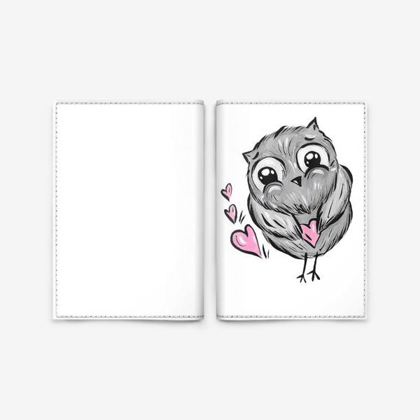 Обложка для паспорта «Сова с сердечками»