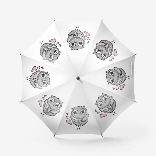 Зонт «Сова с сердечками»