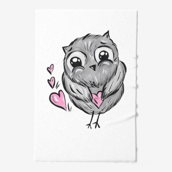Полотенце «Сова с сердечками»