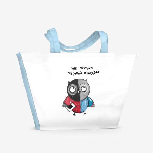 Пляжная сумка «Сова и черный квадрат»