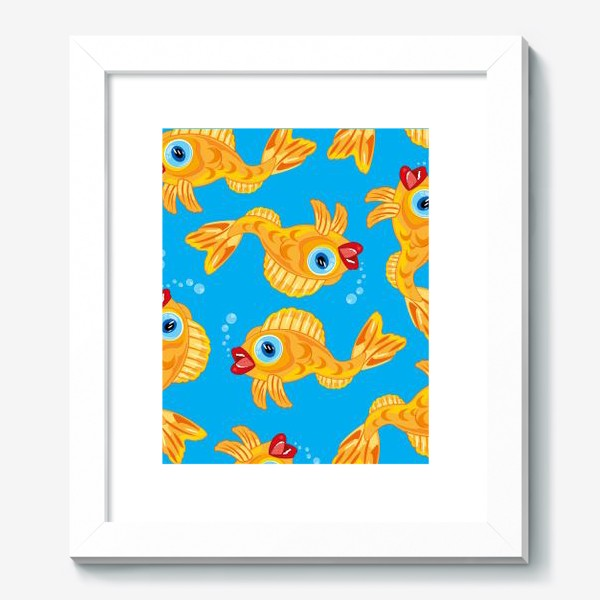 Картина «Золотая рыбка в воде декоративный узор»