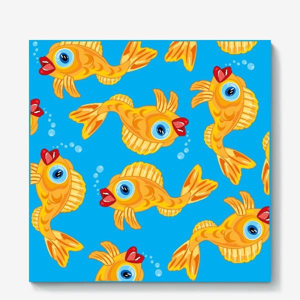 Холст «Золотая рыбка в воде декоративный узор»