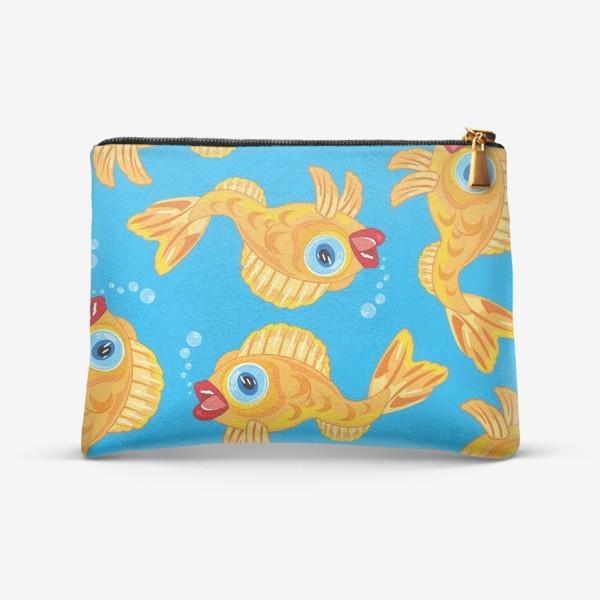 Косметичка «Золотая рыбка в воде декоративный узор»