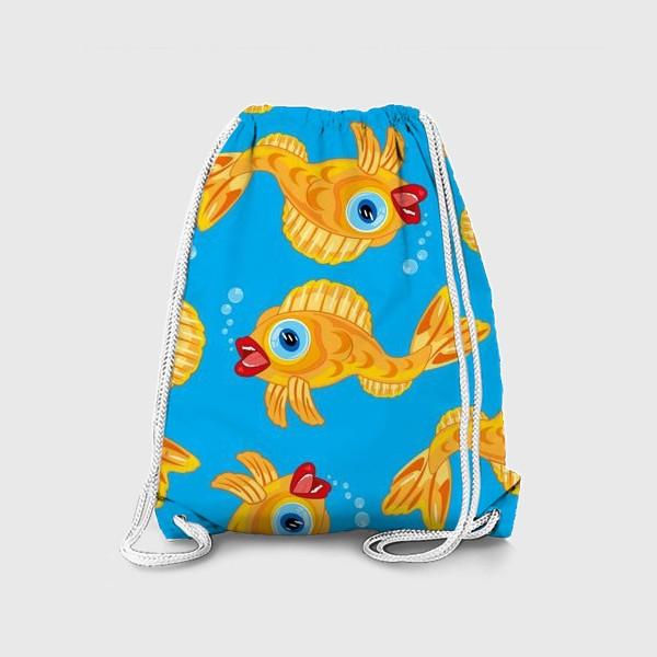 Рюкзак «Золотая рыбка в воде декоративный узор»