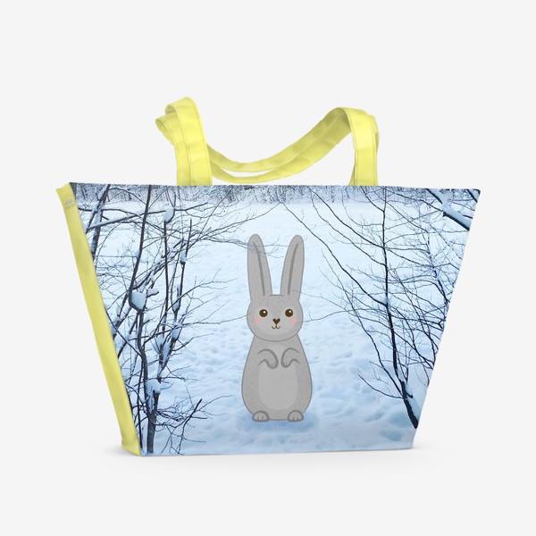 Пляжная сумка «Зайчик в зимнем лесу»