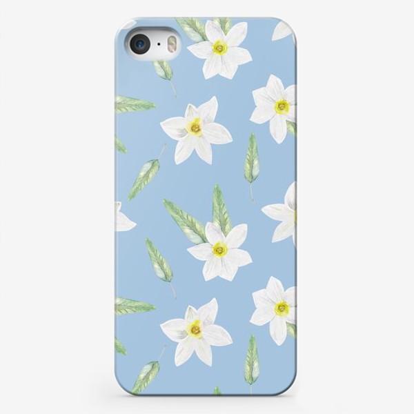 Чехол iPhone «Орнамент с белыми нарциссами»
