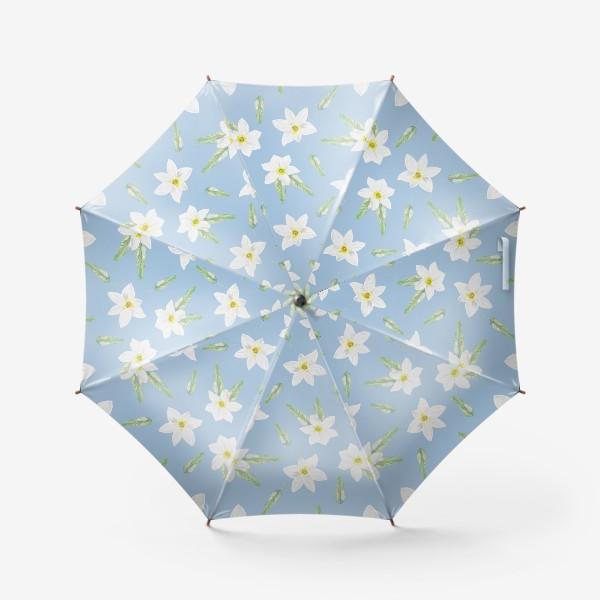 Зонт «Орнамент с белыми нарциссами»
