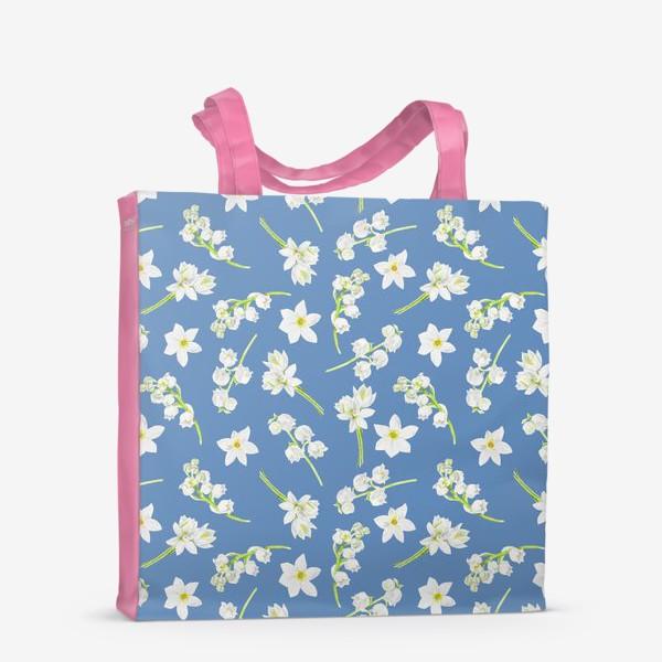 Сумка-шоппер «Орнамент с весенними цветами на синем фоне»