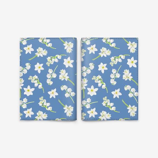 Обложка для паспорта «Орнамент с весенними цветами на синем фоне»