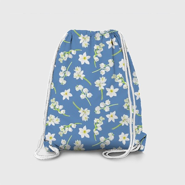 Рюкзак «Орнамент с весенними цветами на синем фоне»