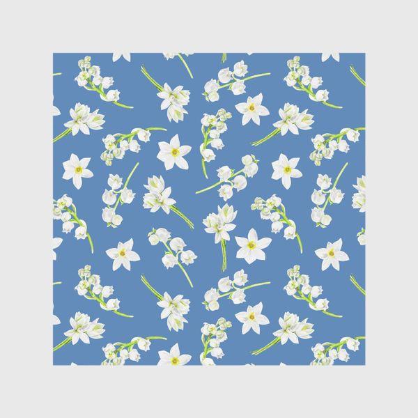 Шторы «Орнамент с весенними цветами на синем фоне»
