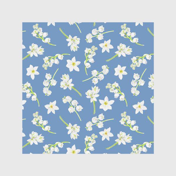 Скатерть «Орнамент с весенними цветами на синем фоне»