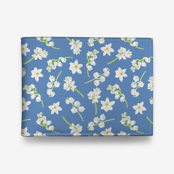 Кошелек «Орнамент с весенними цветами на синем фоне»