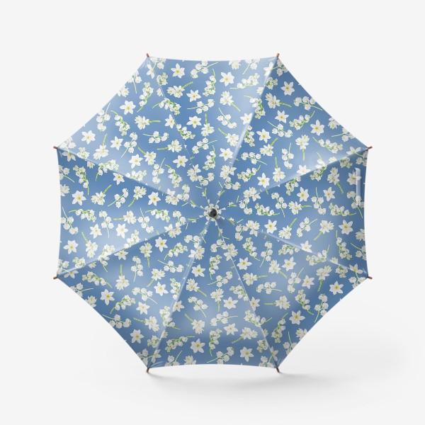 Зонт «Орнамент с весенними цветами на синем фоне»