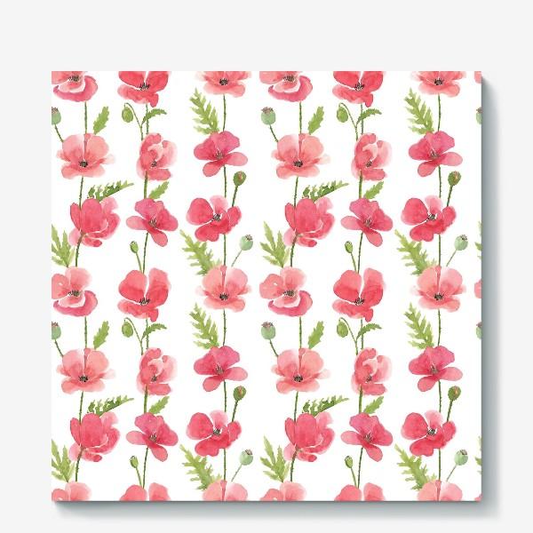 Холст «Красные маки.  Акварельный летний растительный принт на белом фоне»