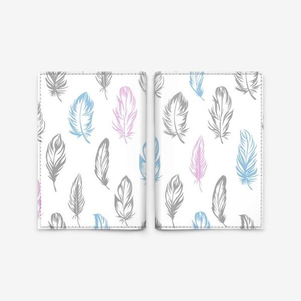 Обложка для паспорта «Серые, голубые, розовые перышки на белом бесшовный паттерн»