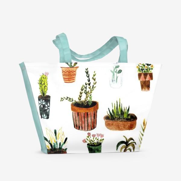Пляжная сумка «Комнатные растения»