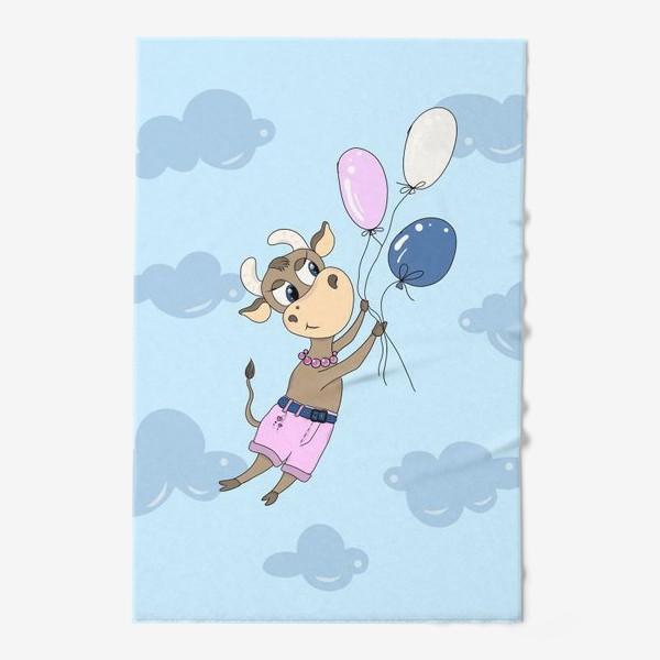 Полотенце «Коровка на воздушных шариках (подарок девочке тельцу) »