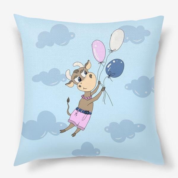 Подушка «Коровка на воздушных шариках (подарок девочке тельцу) »