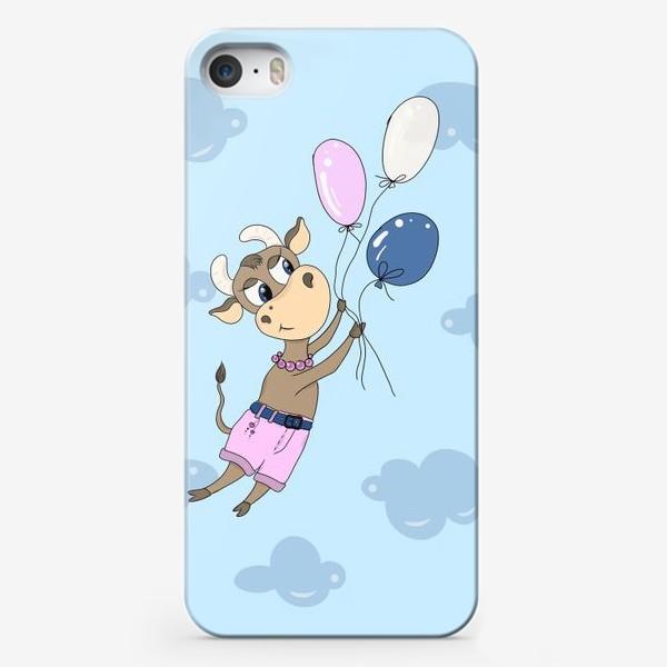 Чехол iPhone «Коровка на воздушных шариках (подарок девочке тельцу) »