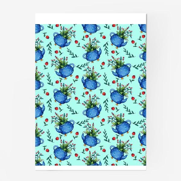 Постер «Синий весенний чайник паттерн»