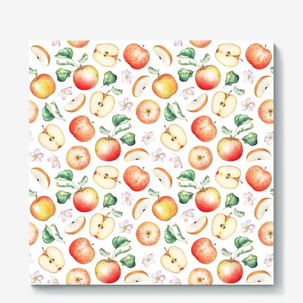 Холст «Паттерн из красных яблок»