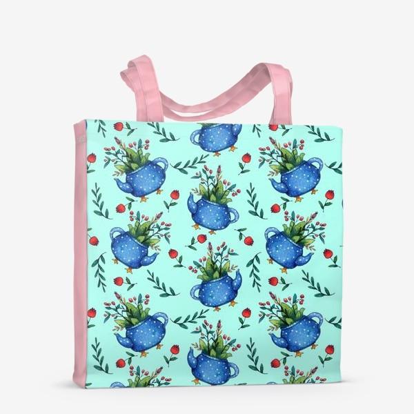 Сумка-шоппер «Синий весенний чайник паттерн»