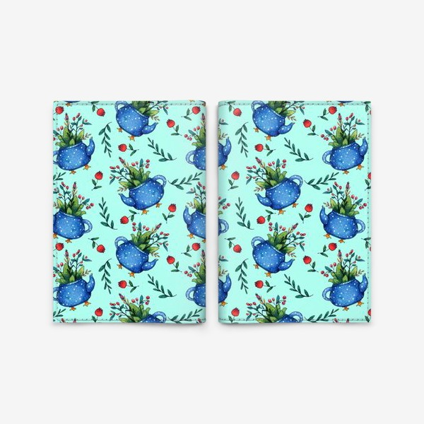 Обложка для паспорта «Синий весенний чайник паттерн»