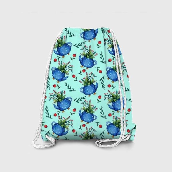 Рюкзак «Синий весенний чайник паттерн»