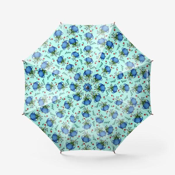 Зонт «Синий весенний чайник паттерн»