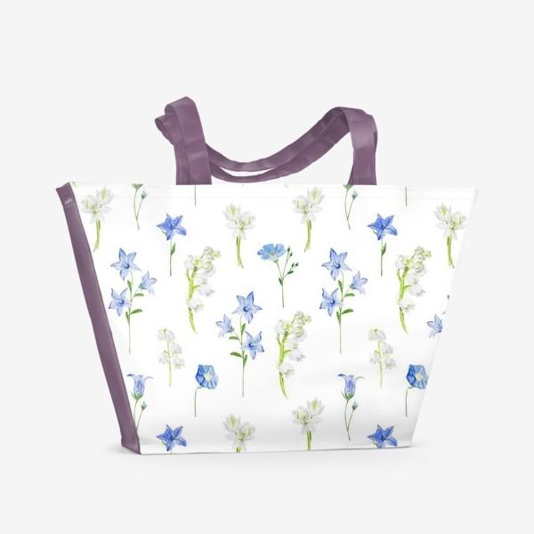 Пляжная сумка «Паттерн с весенними колокольчиками, ландышами и нарциссами»