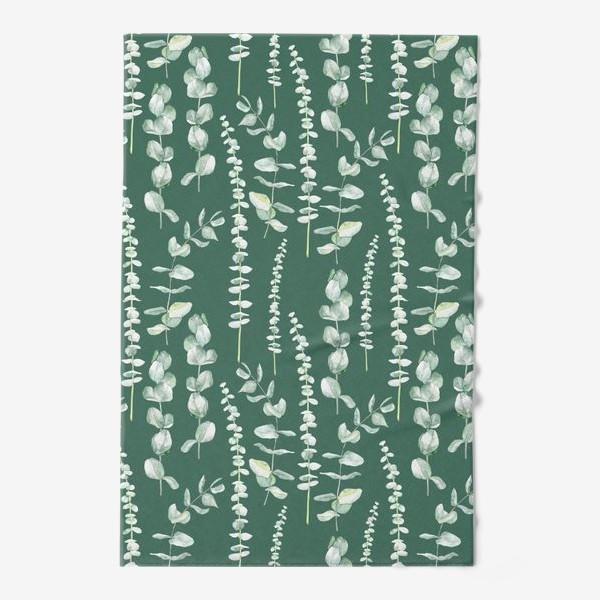 Полотенце «Орнамент с ветками эвкалипта на зеленом фоне»