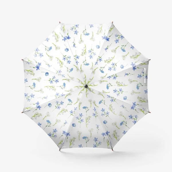 Зонт «Паттерн с весенними колокольчиками, ландышами и нарциссами»