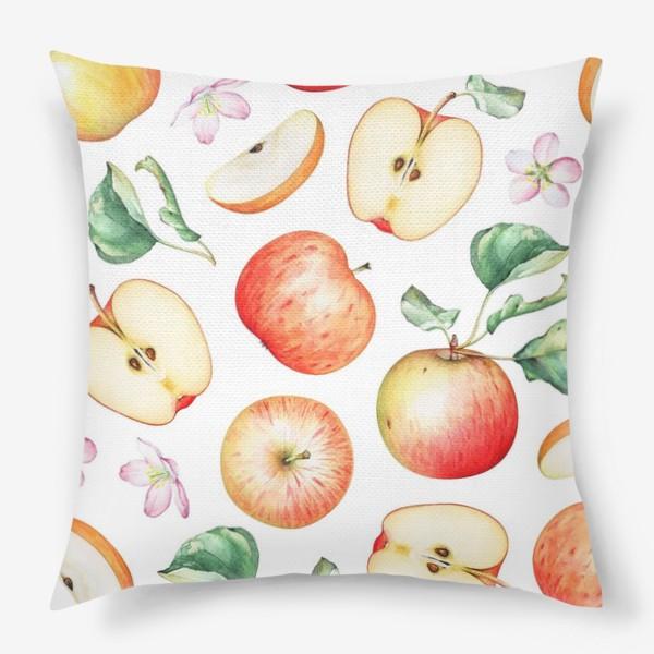 Подушка «Паттерн из красных яблок»