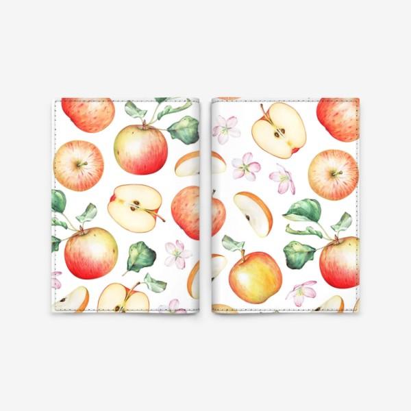 Обложка для паспорта «Паттерн из красных яблок»