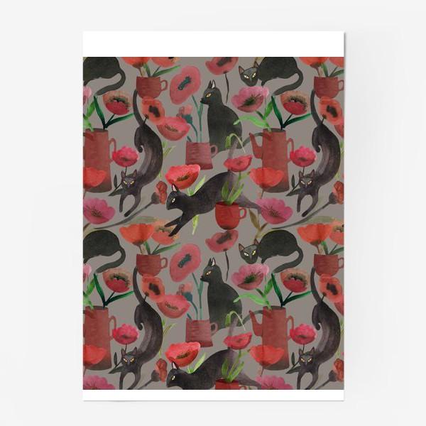 Постер «кошки и маки»