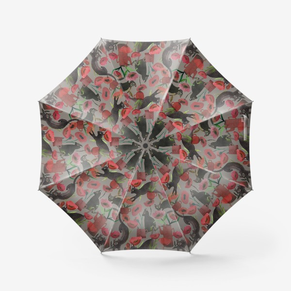 Зонт «кошки и маки»
