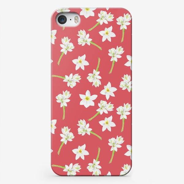 Чехол iPhone «Паттерн с нарциссами на красном фоне»