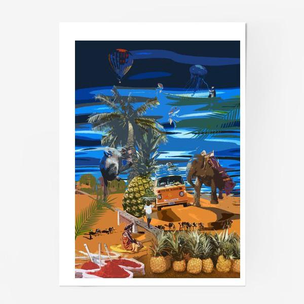 Постер «Collage india pineapple sea»