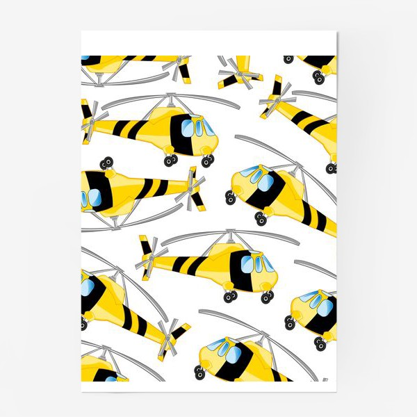 Постер «Вертолет декоративный узор на белом фоне изолированно»