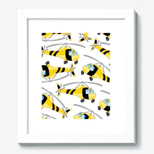 Картина «Вертолет декоративный узор на белом фоне изолированно»