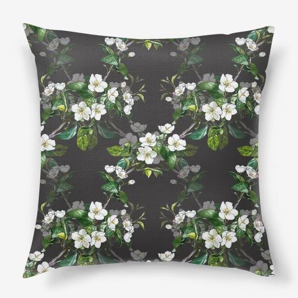Подушка «паттерн с цветущей яблоней»