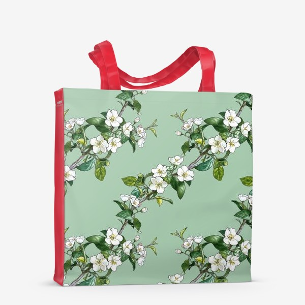 Сумка-шоппер «яблоневый паттерн»