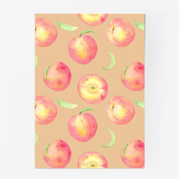 Постер «Сладкие персики. Летний акварельный принт с фруктами на бежевом фоне.»