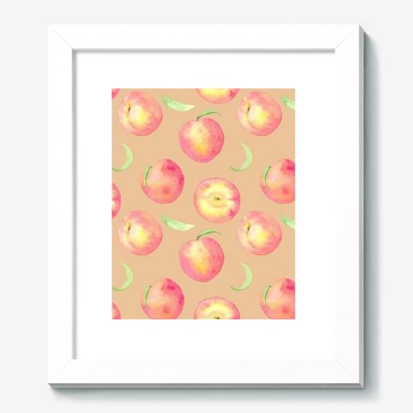 Картина «Сладкие персики. Летний акварельный принт с фруктами на бежевом фоне.»