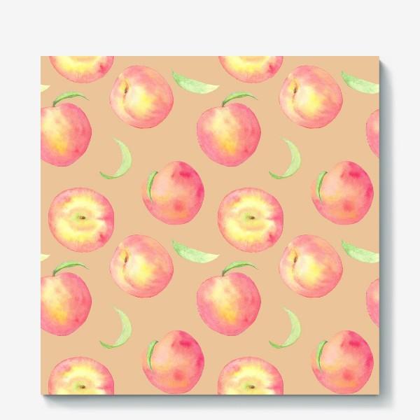 Холст «Сладкие персики. Летний акварельный принт с фруктами на бежевом фоне.»