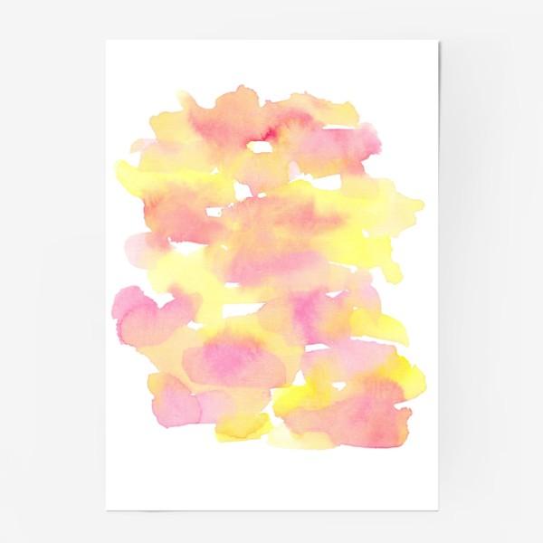 Постер «Акварельный  летний принт, абстрактные пятна розовые, желтые, оранжевые, кораловые  на белом фоне»