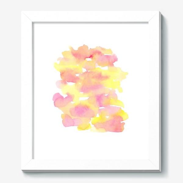 Картина «Акварельный  летний принт, абстрактные пятна розовые, желтые, оранжевые, кораловые  на белом фоне»