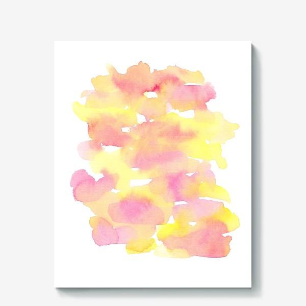 Холст «Акварельный  летний принт, абстрактные пятна розовые, желтые, оранжевые, кораловые  на белом фоне»